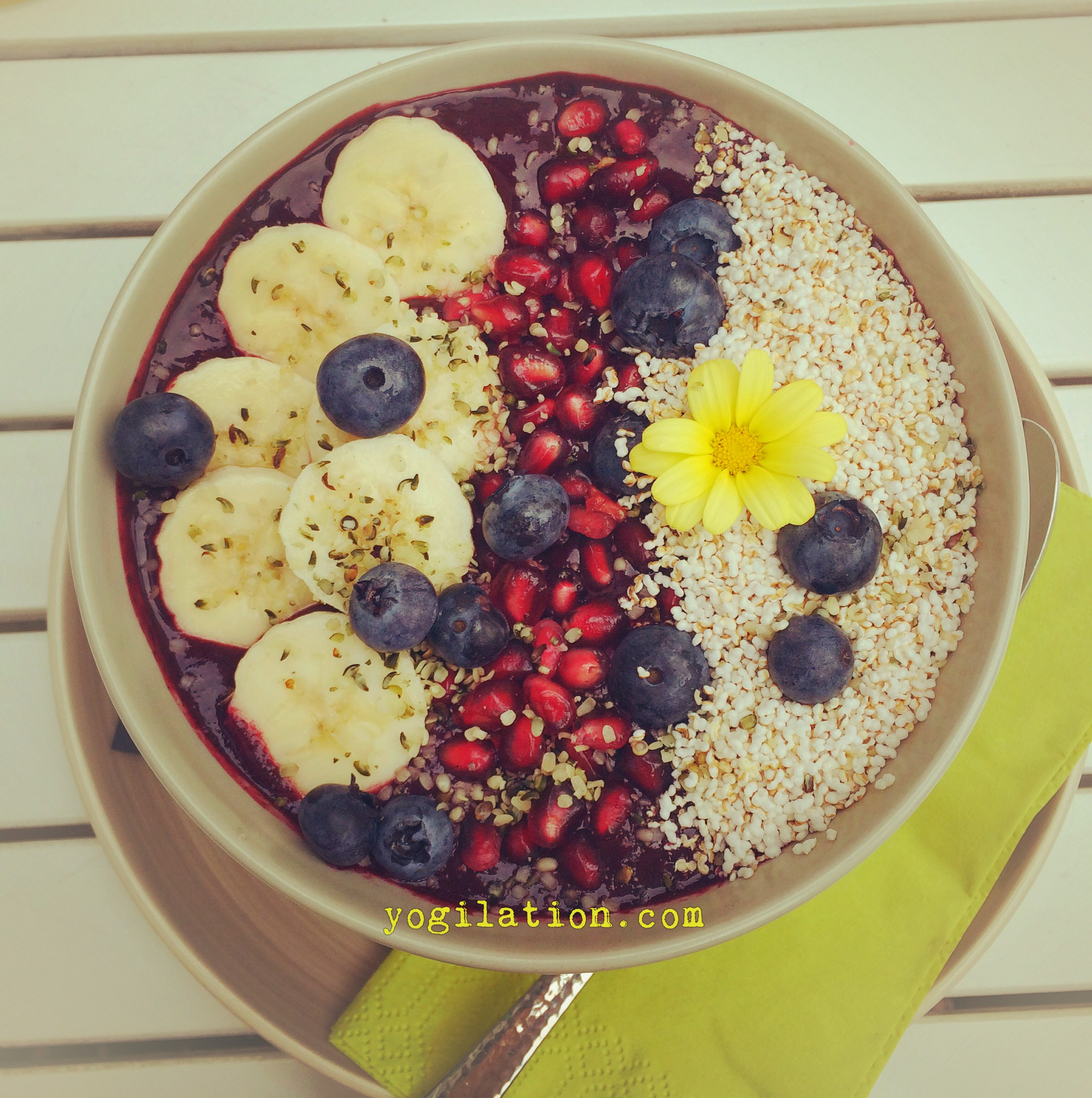 Acai bowl with hemp seeds, Chia, banana, and pomegranate